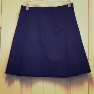 LOFT 4P Black A line pleated and lined skirt
